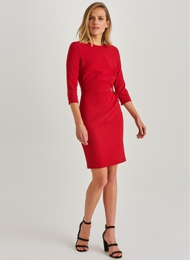 Kuşgözü Detaylı Elbise-People By Fabrika